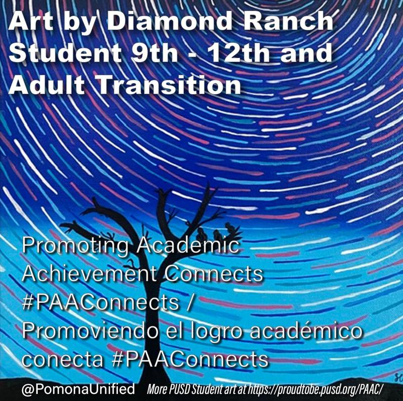 The Promoting Academic Achievement Task Force of Pomona's Promise is sponsoring its annual Sarah & Bob Ross Scholarship visual art competition online this year. PUSD student art is on display at http://ow.ly/rWr550zAjM9  #PAAConnects #proud2bepusd #Art #PomonaArt