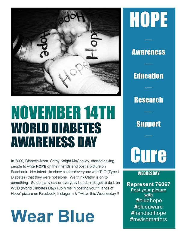 World Diabetes Day is Wednesday, November 14th.  Wear blue to support and recognize those who battle diabetes daily.