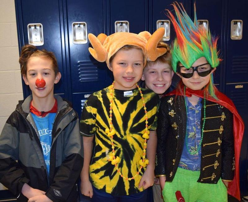 Students dressed up for Wacky Tacky Day