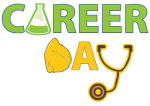 A career day banner featuring a beaker, hard hat, and stethoscope