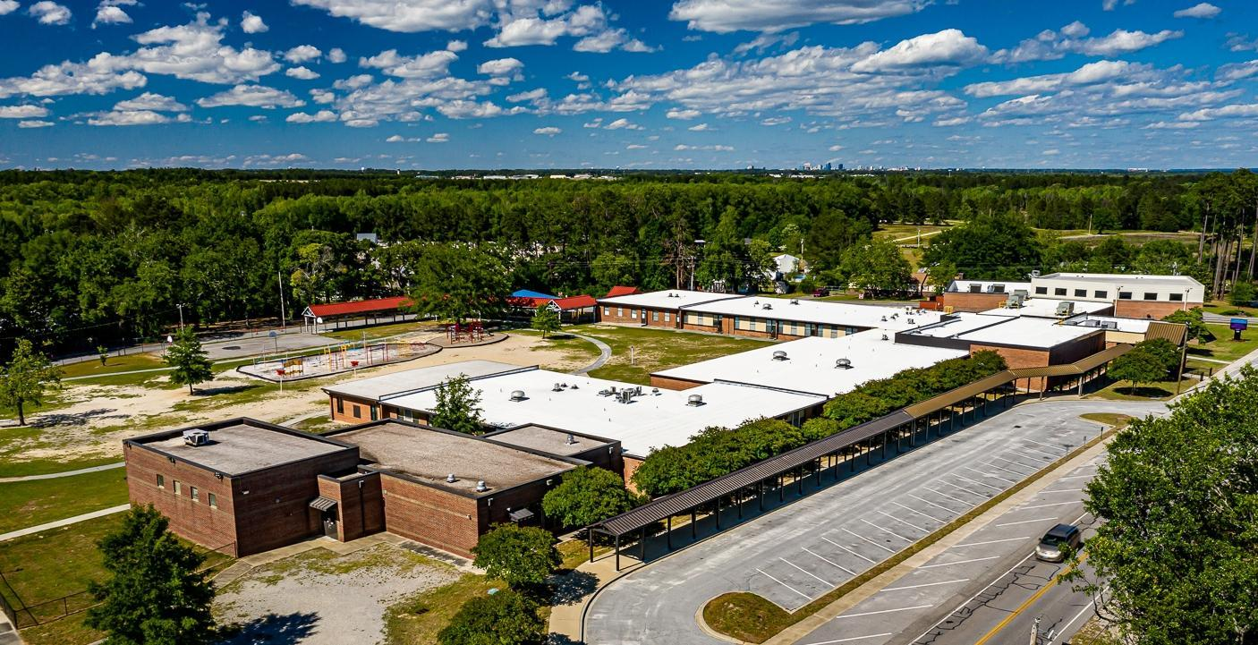 Aerial view of the Congaree Elementary Campus including the new Cafetorium & Kitchen addition and the 2 new classroom addition