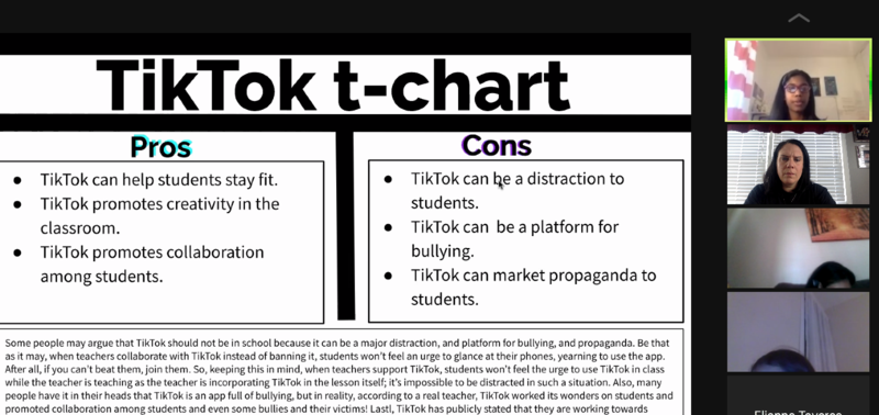 Tiktok t-chart slide shown to zoom class
