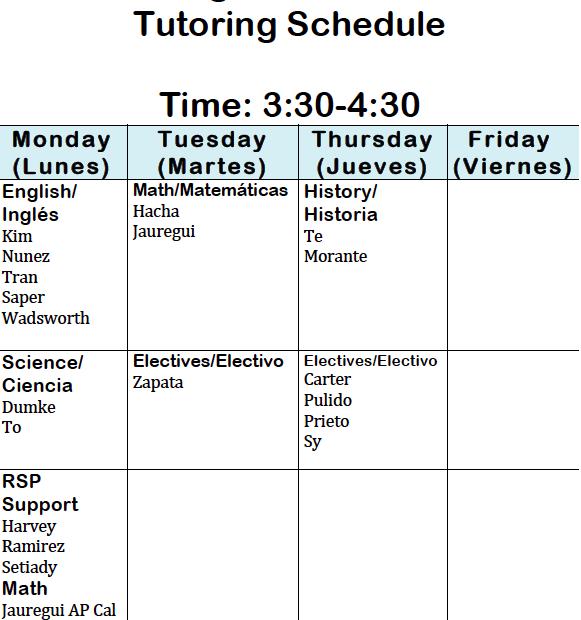 Tutoring Schedule Thumbnail Image