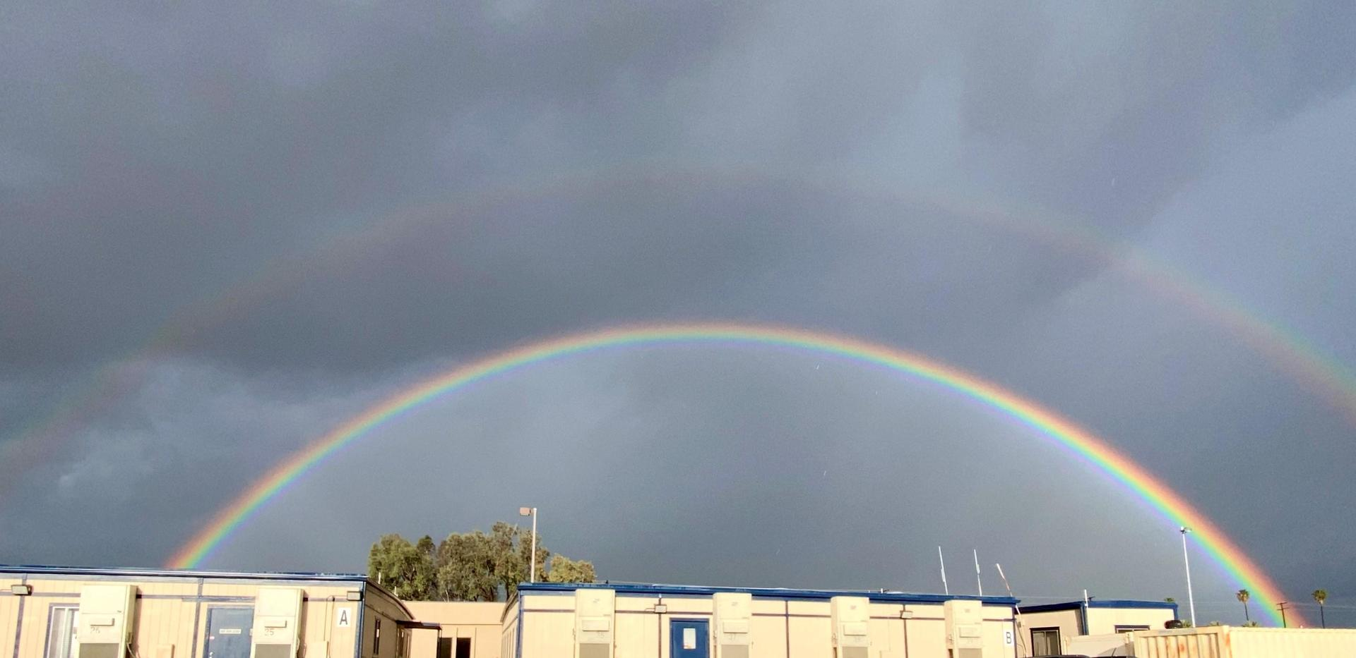 Picture of rainbow over Tech Dept