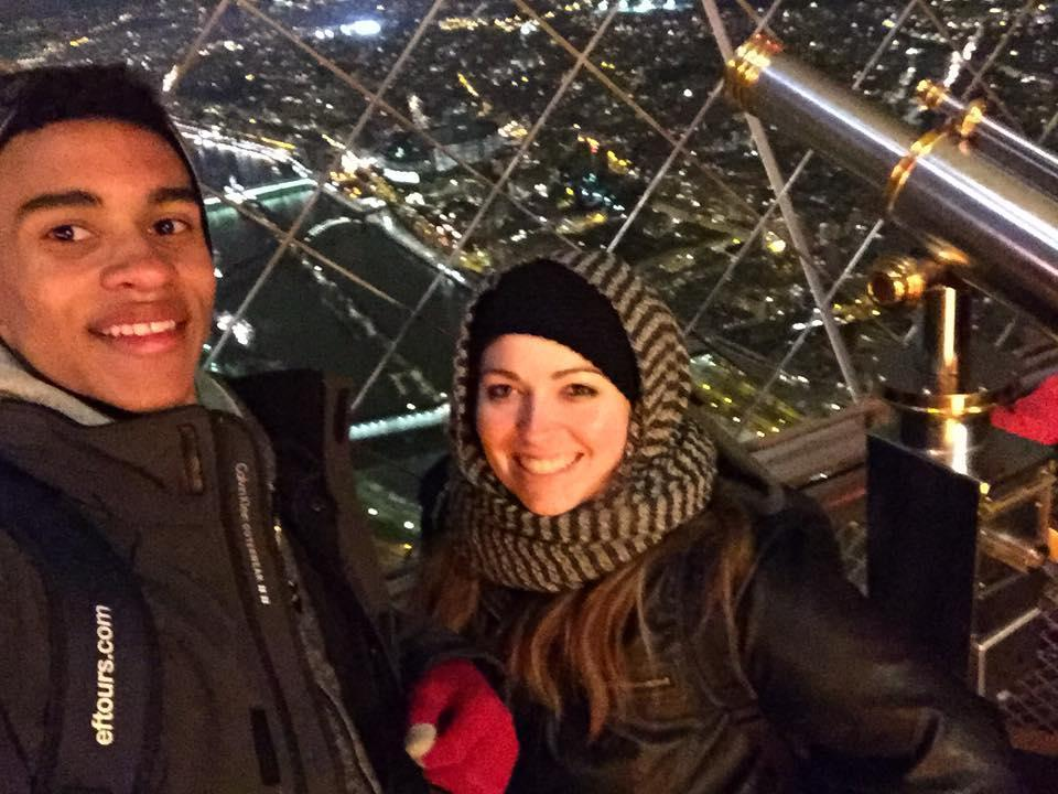 My student and I on top of the Eiffel Tower