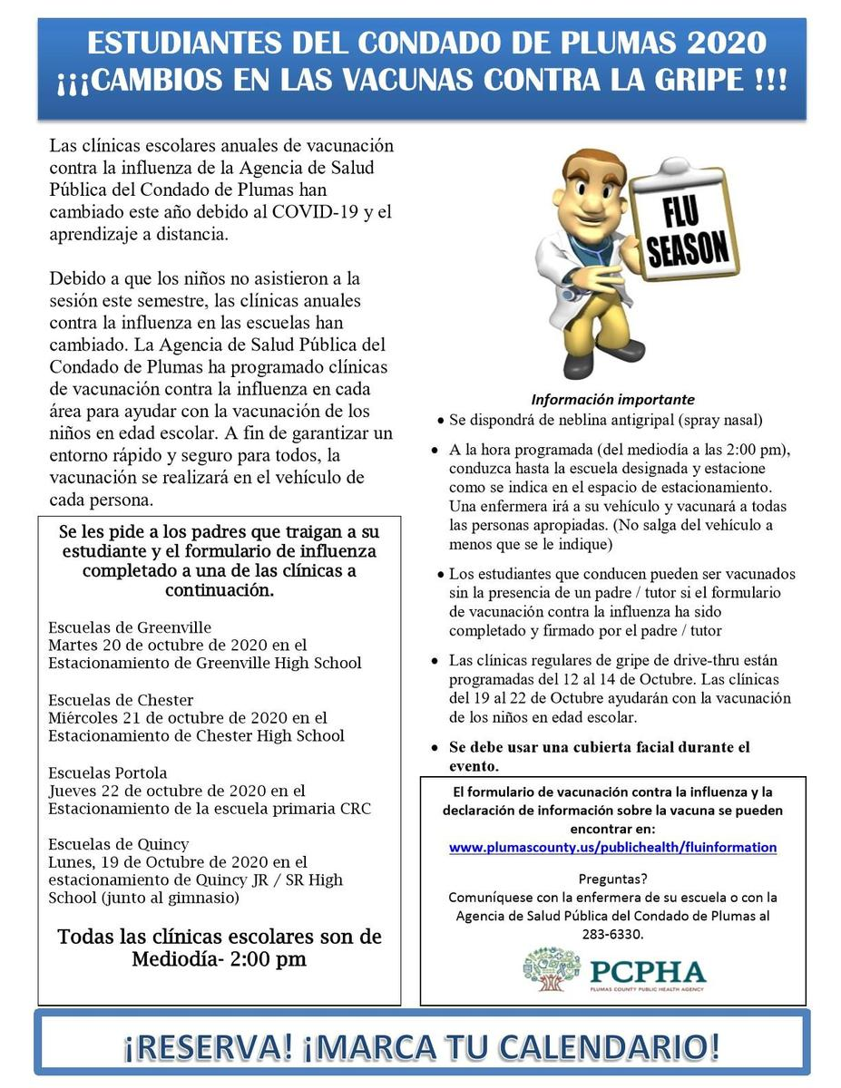 Fall 2020 flu shot flyer, Spanish