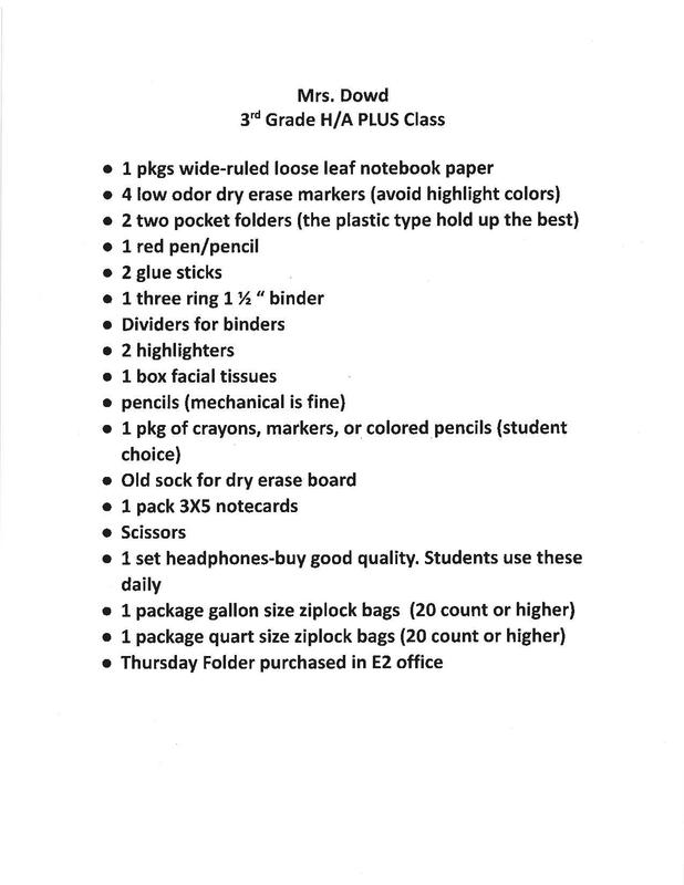 3rd grade high ability/PLUS supply list