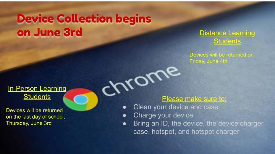 2020-21 Textbook & Device Collection Information for all Students Image