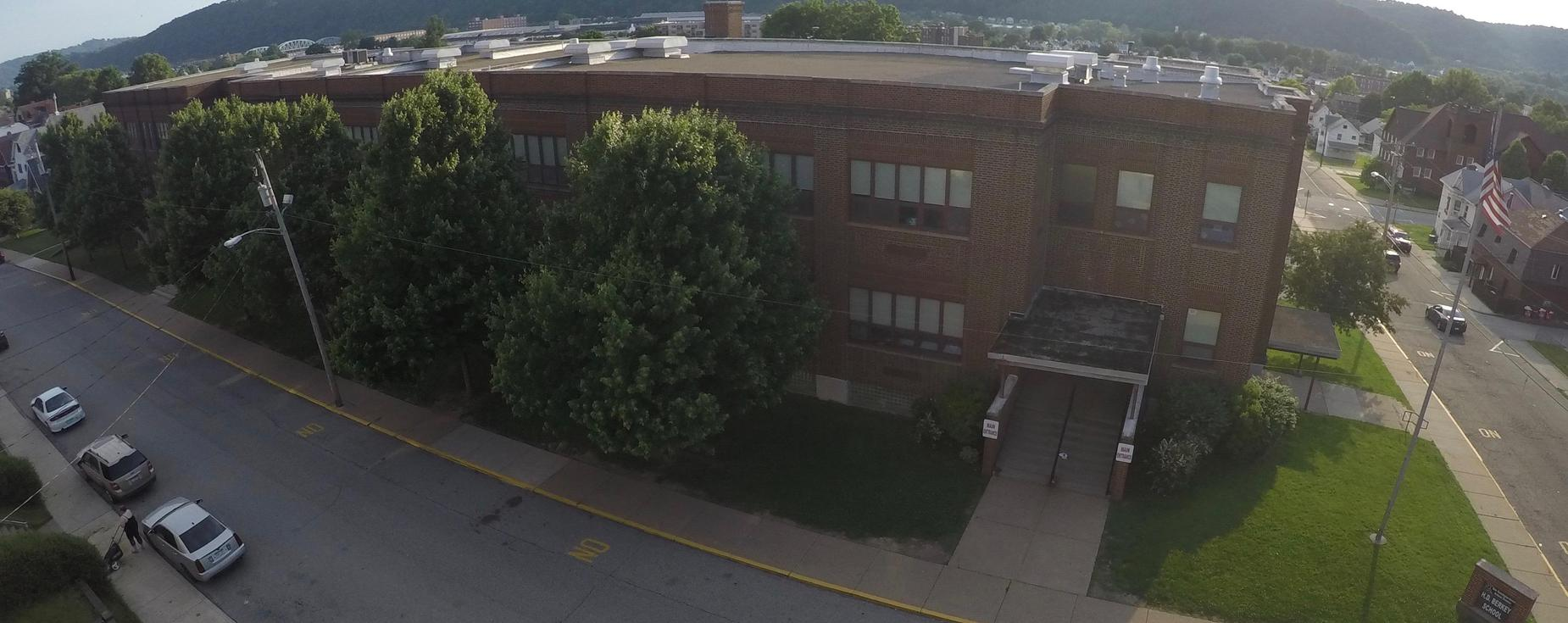 Aerial view of H. D. Berkey School, New Kensington Arnold School District.