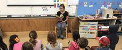 Students listening to a story.