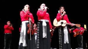 Mariachi singers, singing