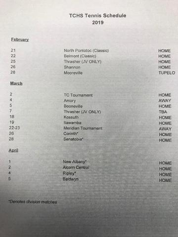 TCHS Tennis Schedule