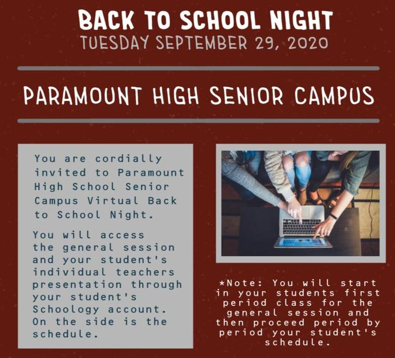 Back to School Night - Tuesday, September 29, 2020 5:30pm Featured Photo