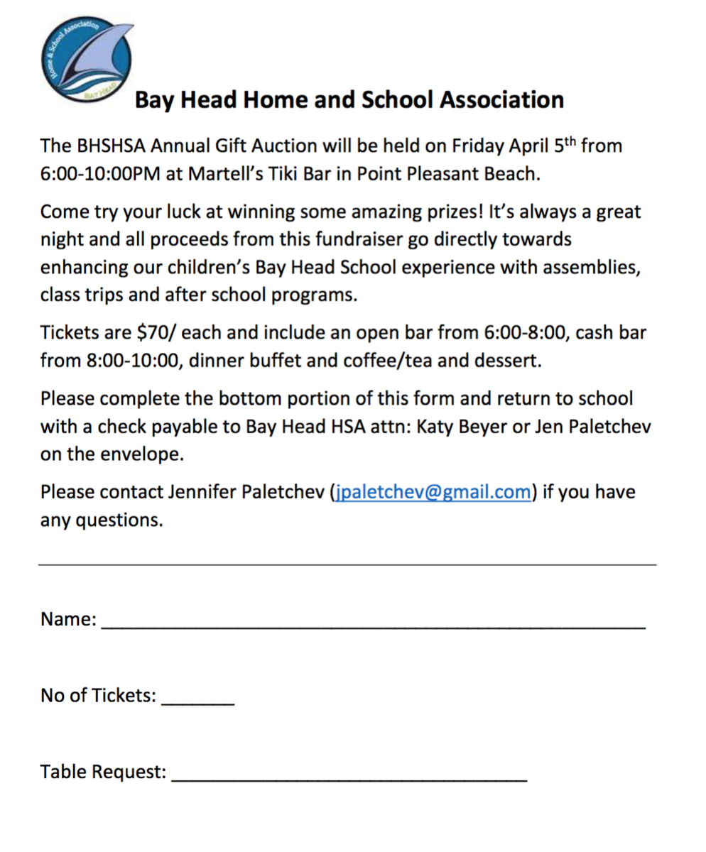 Gift Auction Ticket Form