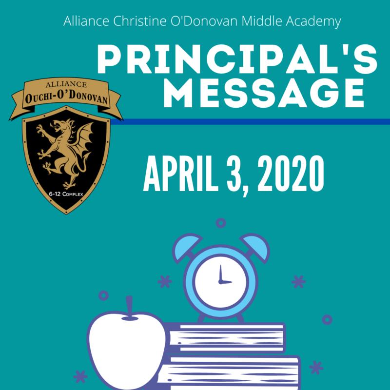 Principal's Message Friday, April 3, 2020 Thumbnail Image