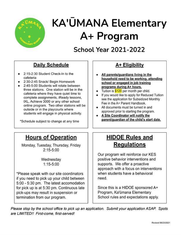 KES After-School Program Information - Revised 06-23-21