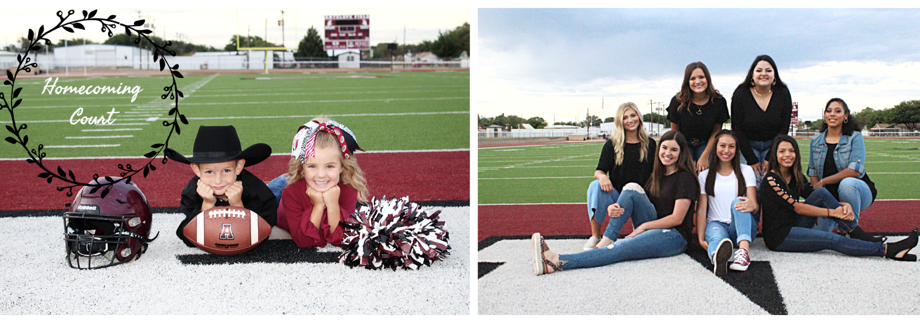 Homecoming court pose on football field