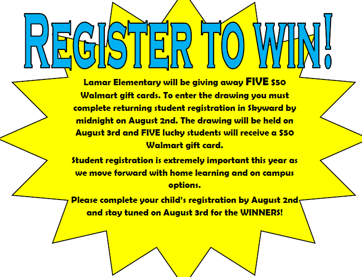 Flyer announcing five $50 Walmart Gift Cards giveaways to parents that register prior to August 3rd