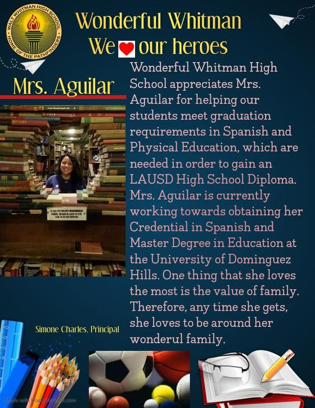 WHITMAN HERO:  MEET MRS. AGUILAR Featured Photo