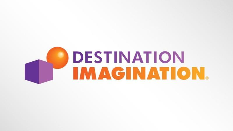 Destination Imagination logo with purple cube and orange sphere