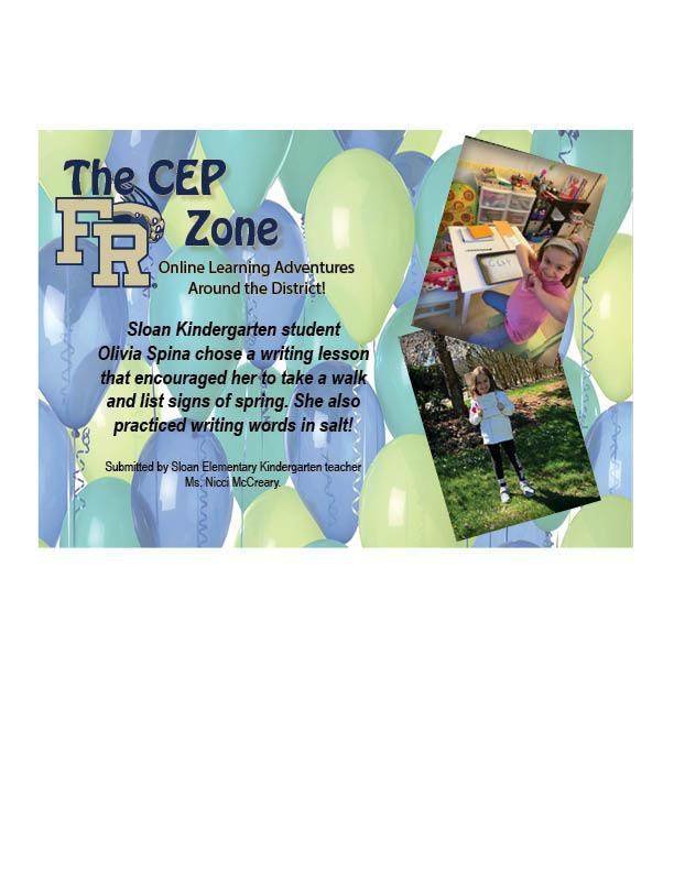 The CEP Zone featuring Sloan Elementary School Kindergarten student Olivia Spina.