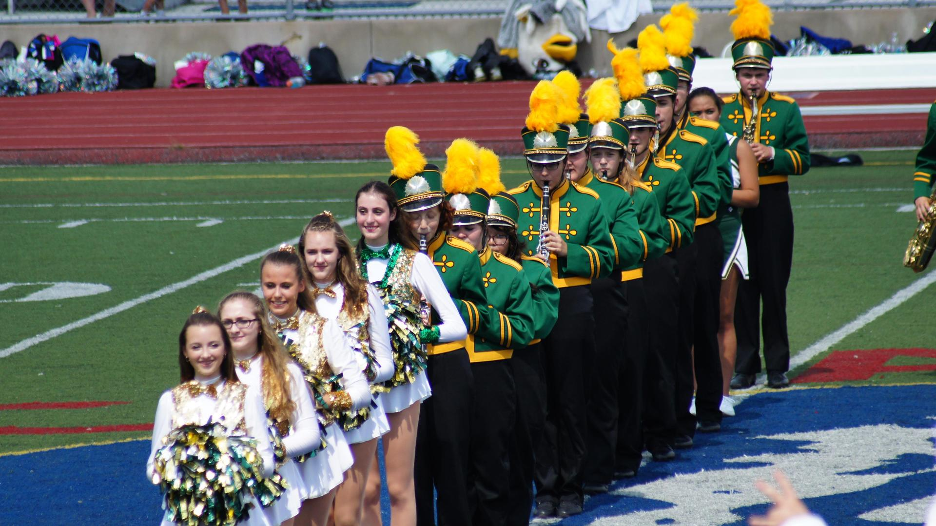 Marching Band performs at a football game