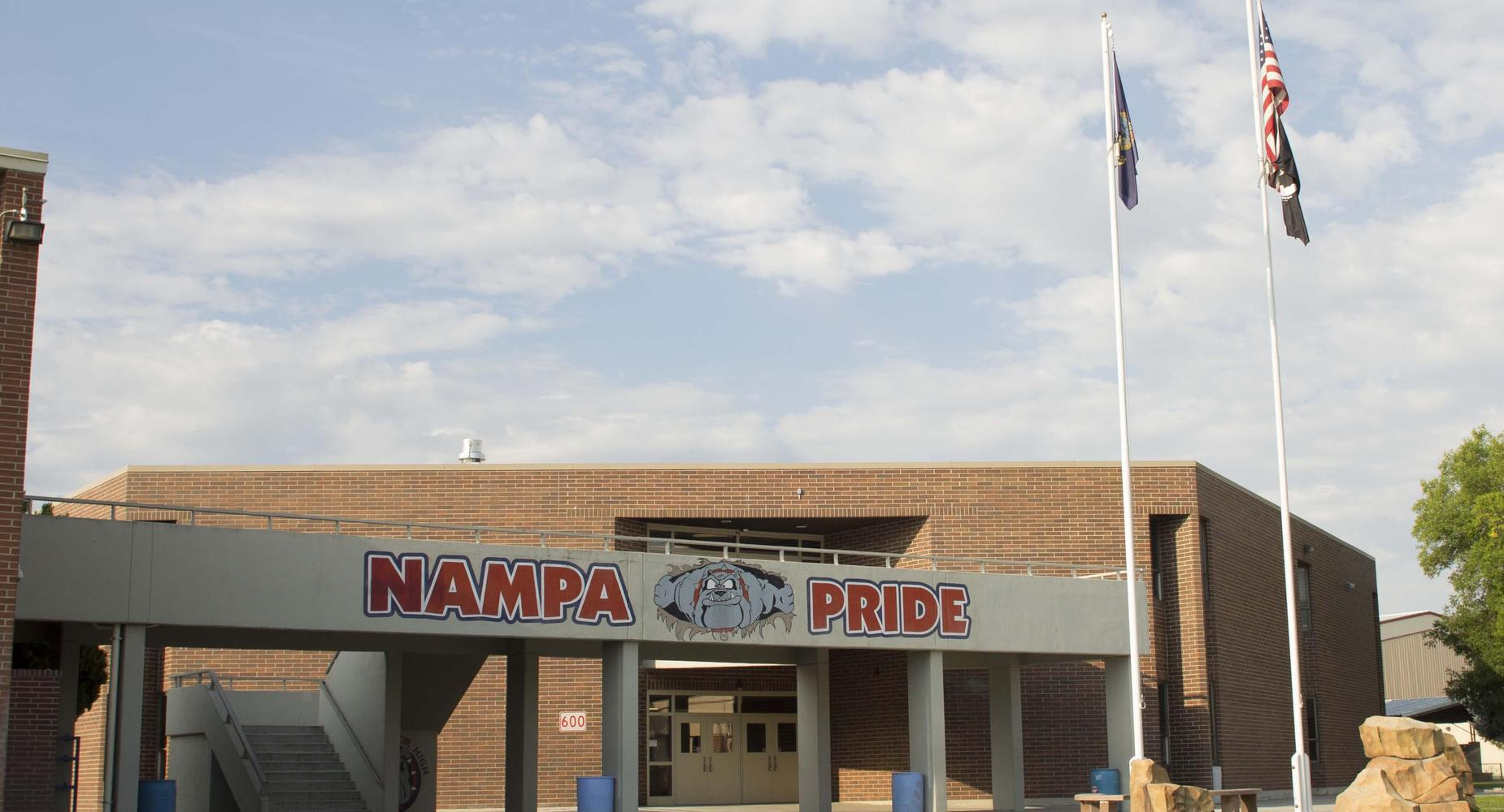Front exterior of Nampa High School showing the bulldog mascot and Nampa Pride.