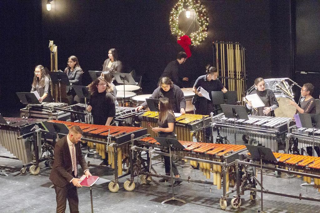 A wide angle, side view of the percussion ensemble