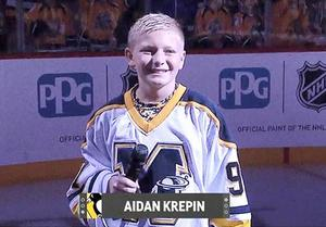"Mars Area Centennial School sixth-grader Aidan Krepin was selected to sing the National Anthem at the Pittsburgh Penguins' ninth annual ""Free Game for Kids"" on Sept. 28 at PPG Paints Arena."
