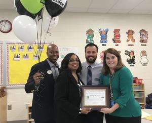 Presentation to Cayce Elementary teacher Mandy McLemore