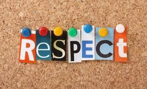 The word respect in magazine letters