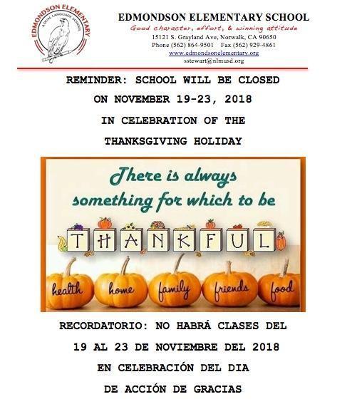Thanksgiving Break - No School during 11/19/18 - 11/23/18 Featured Photo