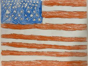 Grayson's American flag drawing