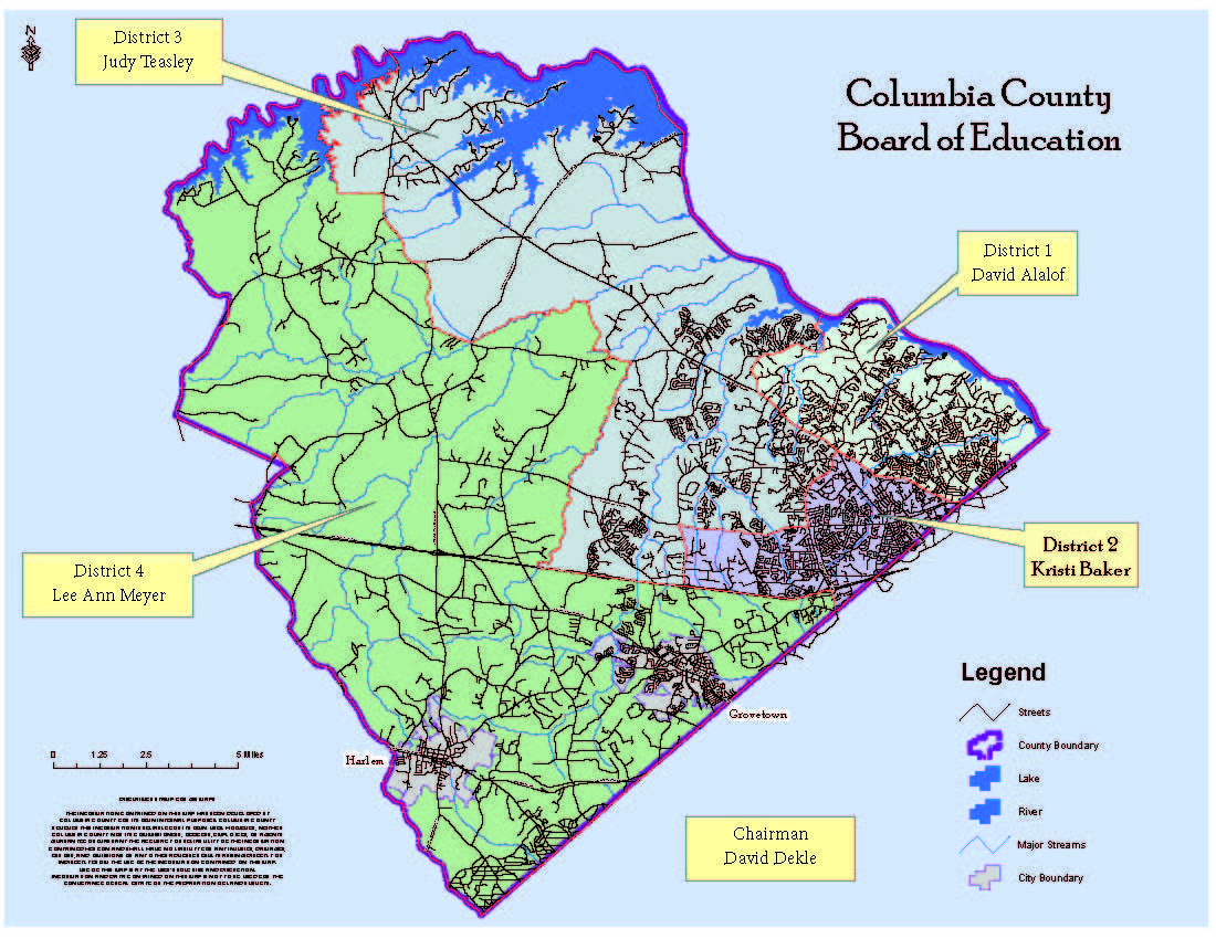Columbia County School DIstrict Board of Education Represenatives and a map of their districts