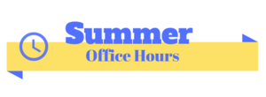 summer office hours text on photo