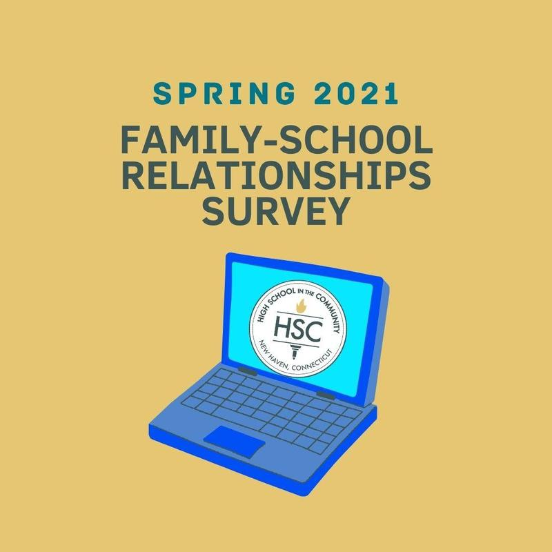 Picture of a computer with the words SPRING 2021 FAMILY-SCHOOL RELATIONSHIPS SURVEY
