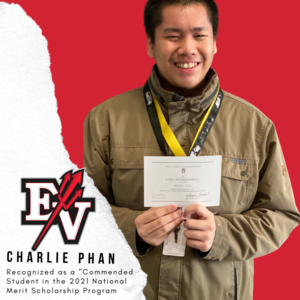 EV logo with picture of Charlie Phan holding his letter with a red background.