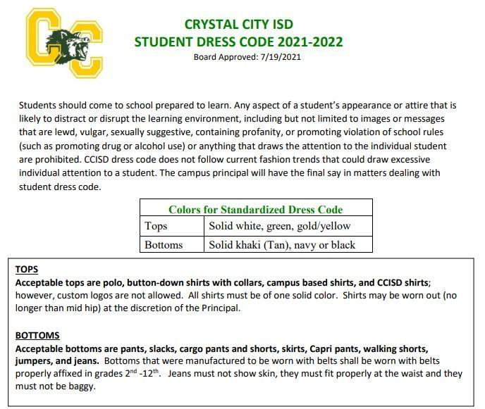 2021-2022 CCISD Dress Code Featured Photo