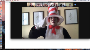Cat in the Hat giving thumbs up on zoom
