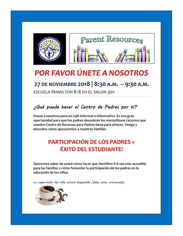 Cafe con el Centro de Recursos para Padres