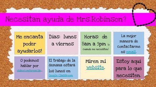 Si necesitan ayuda de Mrs. Robinson PPT