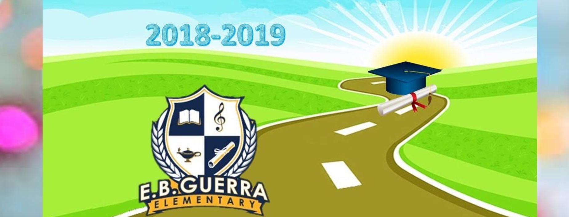image of Guerra logo and graduation cap on a sunrise image
