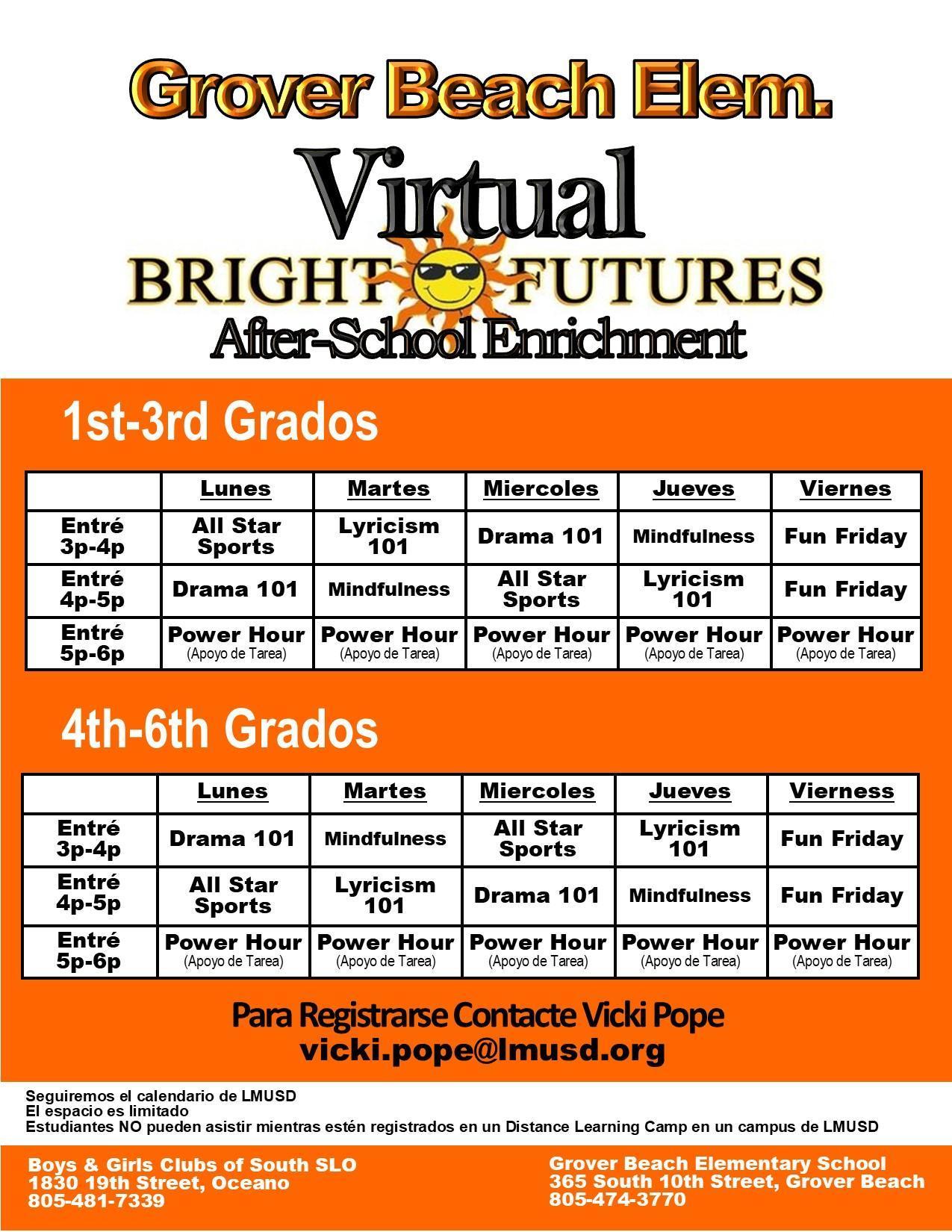 Bright Futures Schedule Español