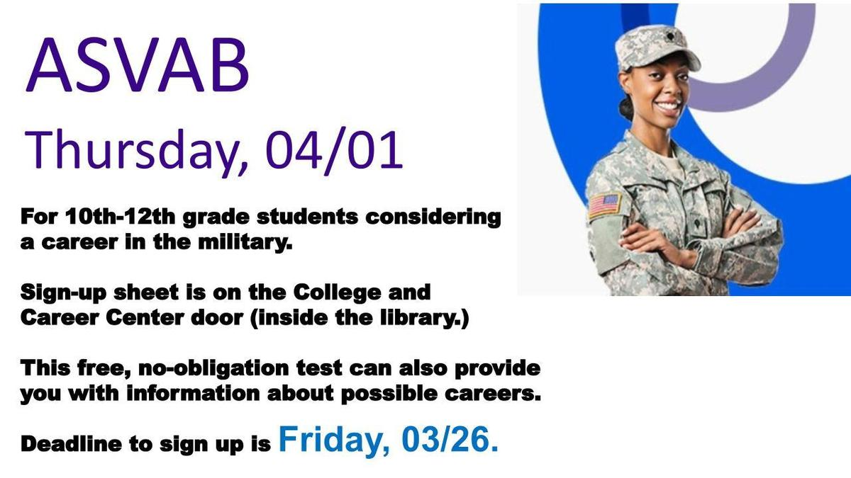 graphic describing the ASVAB test is April 1