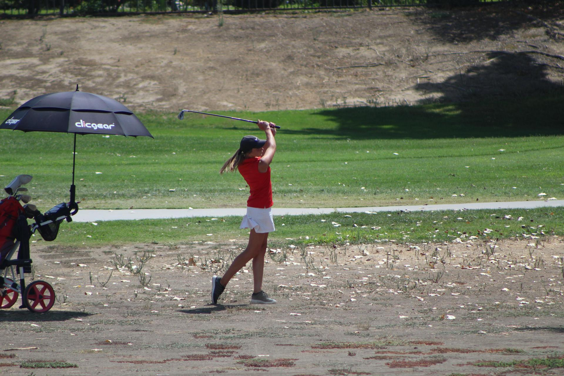 Girls golfing vs Sierra Pacific
