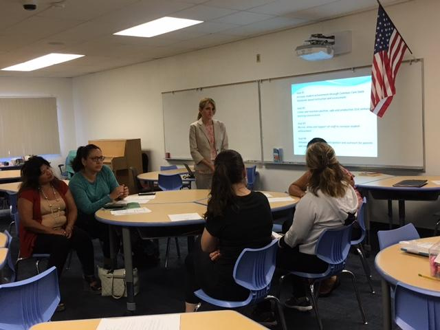 Ms. Linnecke leads an ELAC meeting