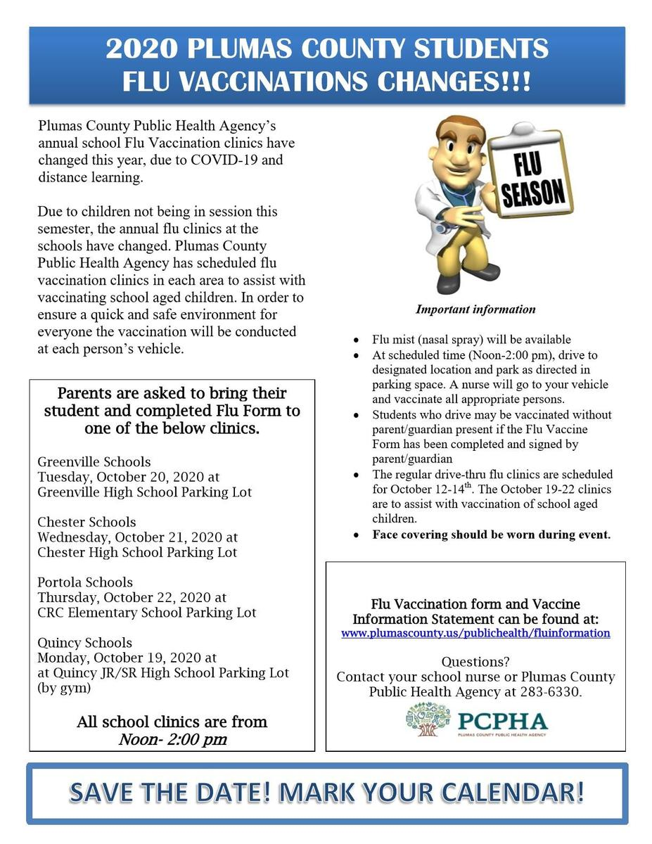 Fall 2020 flu shot flyer