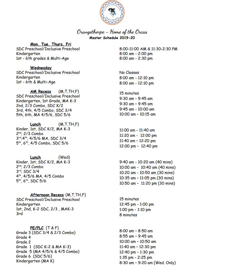 OT Bell Schedule