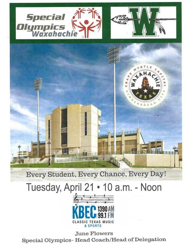 Special Olympics logo over picture of Lumpkins Stadium with City of Waxahachie & KBEC radio logos