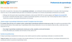 Learning Preference Survey Information Spanish
